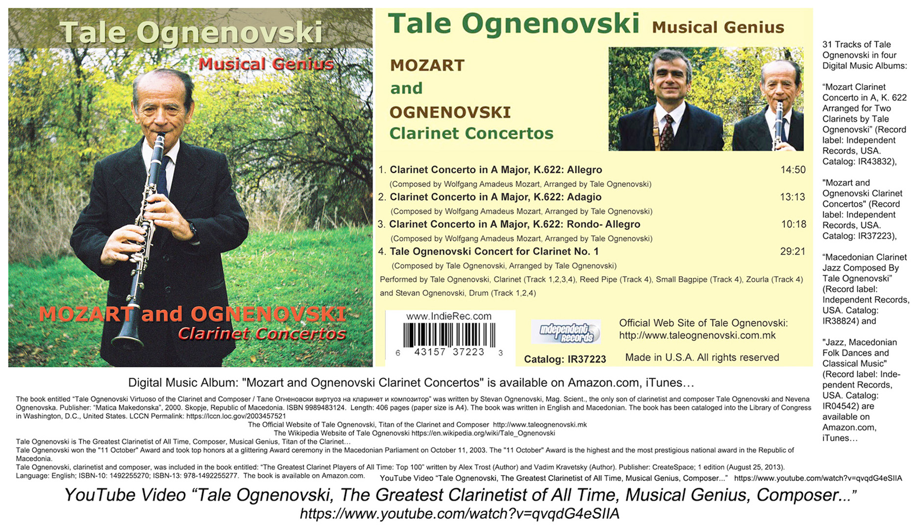 Tale Ognenovski, The Greatest Clarinetist of All Time