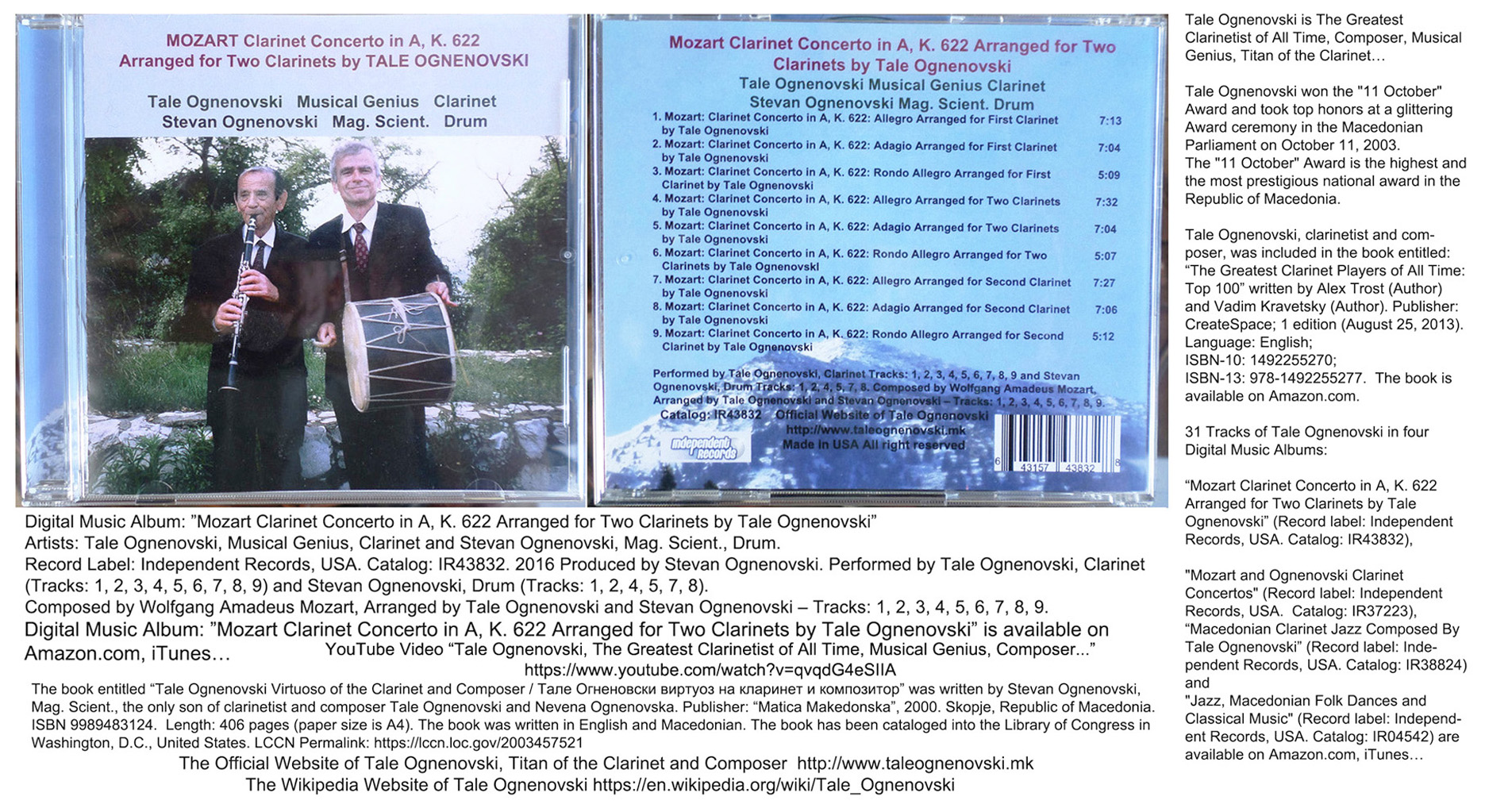 "CD: ""MOZART and OGNENOVSKI Clarinet Concertos"", Tale"